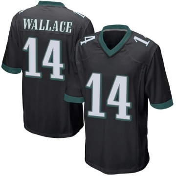 Youth Mike Wallace Philadelphia Eagles Game Black Alternate Jersey