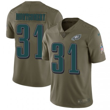 Youth Wilbert Montgomery Philadelphia Eagles Limited Olive 2017 Salute to Service Jersey